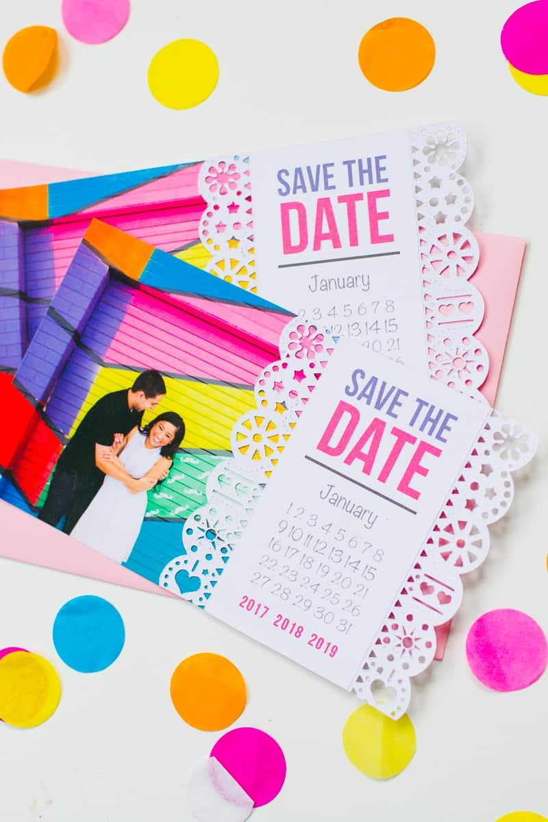Mexican Save The Date Cricut Die Cut Colourful Fun Invitation Wedding Stationery-3