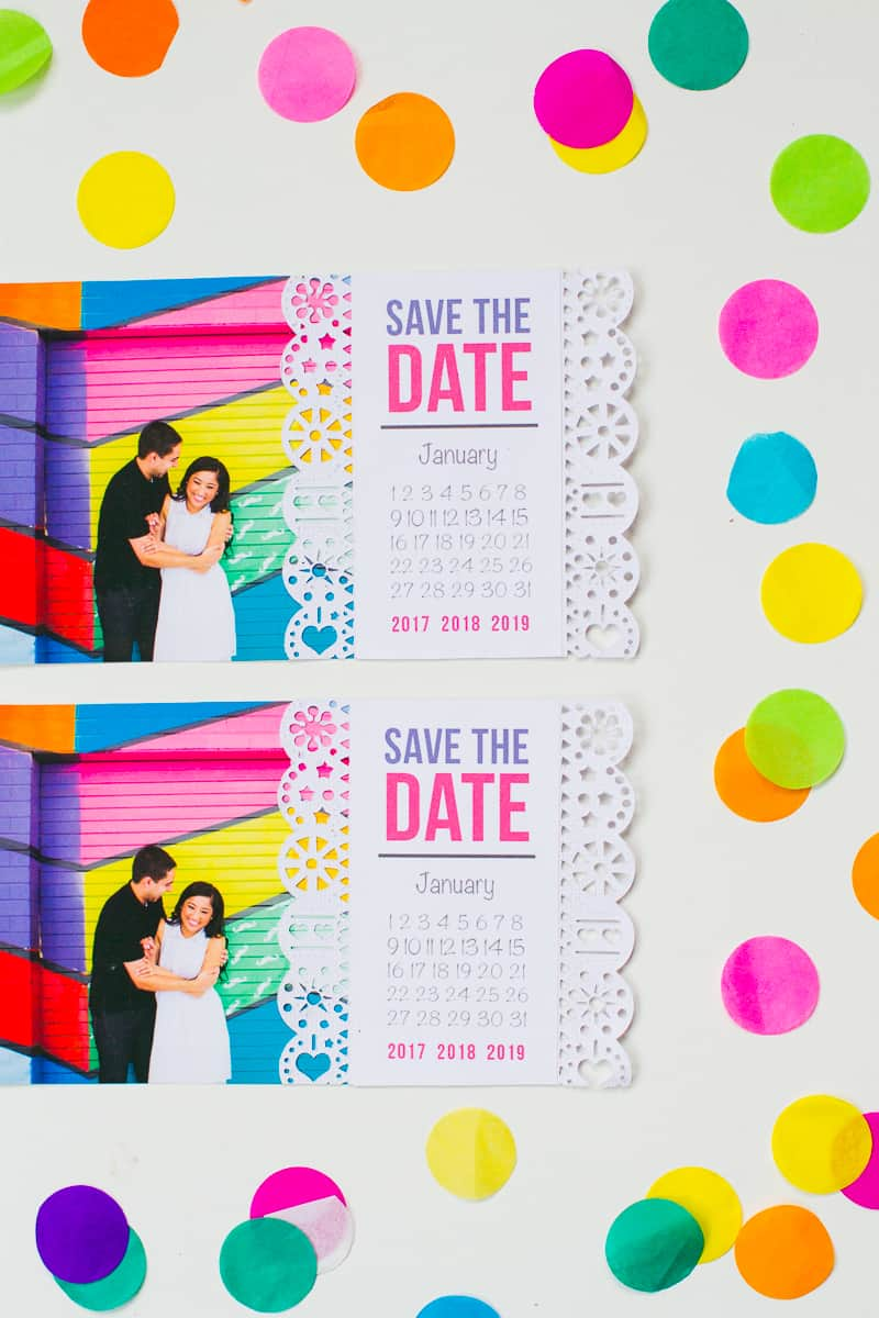 Mexican Save The Date Cricut Die Cut Colourful Fun Invitation Wedding Stationery-5