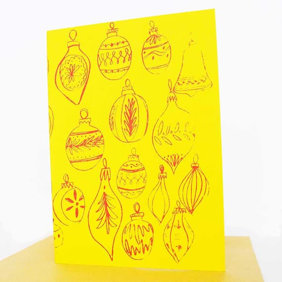 handpainted-christmas-card-in-yellow