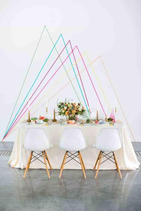 CREATIVE DIY WEDDING PARTY BACKDROPS-GEOMETRIC WASHI TAPE BACKDROP