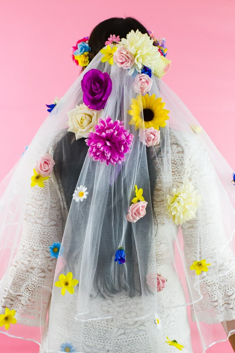 DIY Floral Flower Veil Colourful Fun Tutorial Wedding Faux Flowers-1