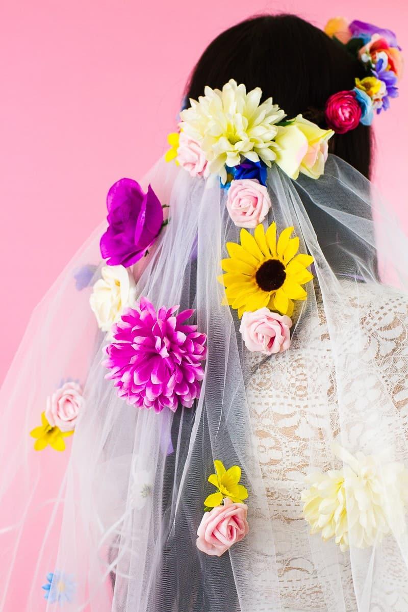 DIY Floral Flower Veil Colourful Fun Tutorial Wedding Faux Flowers-7