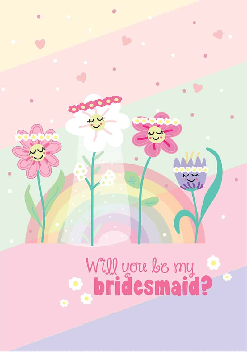 free printable be my bridesmaid card rainbow pastel flower design