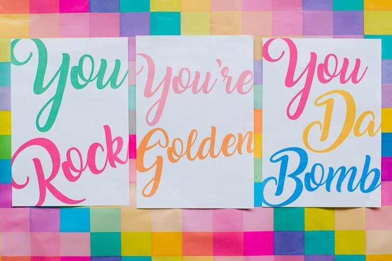free-printable-thank-you-cards-calligraphy-modern-wedding-postcard-colourful-6-you-rock-youre-golden-you-da-bomb