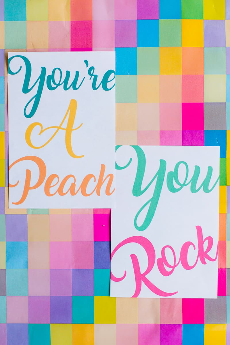 free-printable-thank-you-cards-calligraphy-modern-wedding-postcard-colourful-8-youre-a-peach-you-rock