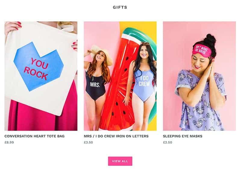 Bespoke Bride Shop Homepage Gifts