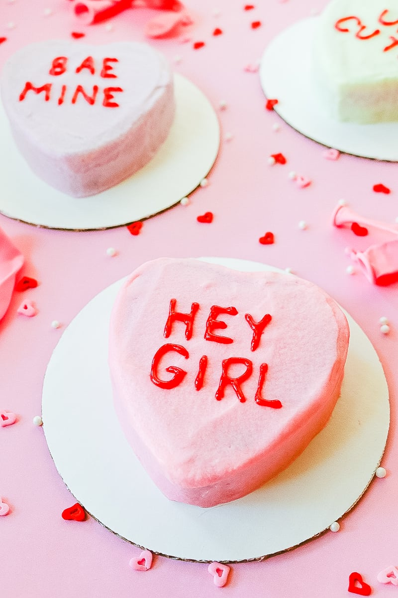 DIY Conversation heart cakes for valentines day recipe