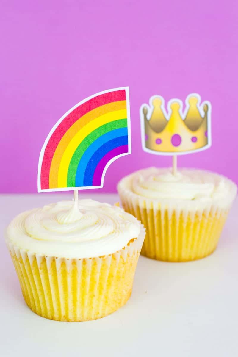 Emoji Cake Topper DIY Printable Download Fun cupcake heart unicorn watermelon rainbow_-28