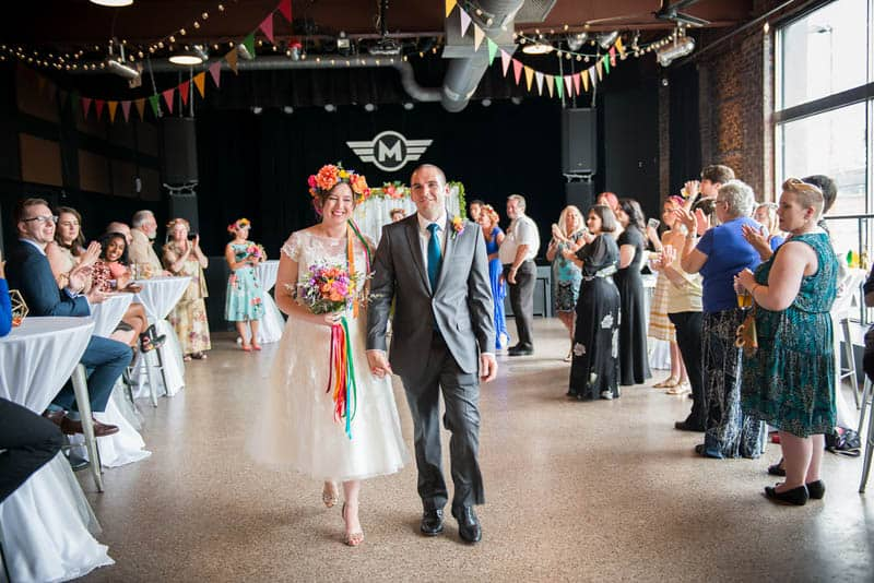 COLOURFUL GEOMTRIC ELOPEMENT AFTER PARTY RECEPTION IN A MUSIC HALL (17)