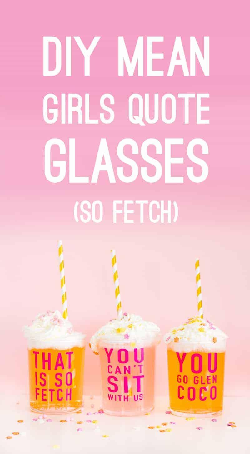 DIY Mean Girls Quotes Glasses vinyl stickers fun lyrics bridal shower bachelorette party hen pink Main