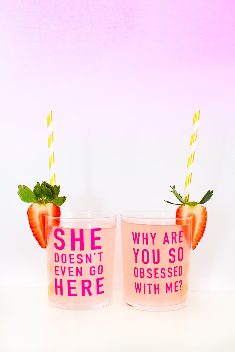 DIY Mean Girls Quotes Glasses vinyl stickers fun lyrics bridal shower bachelorette party hen pink_-21