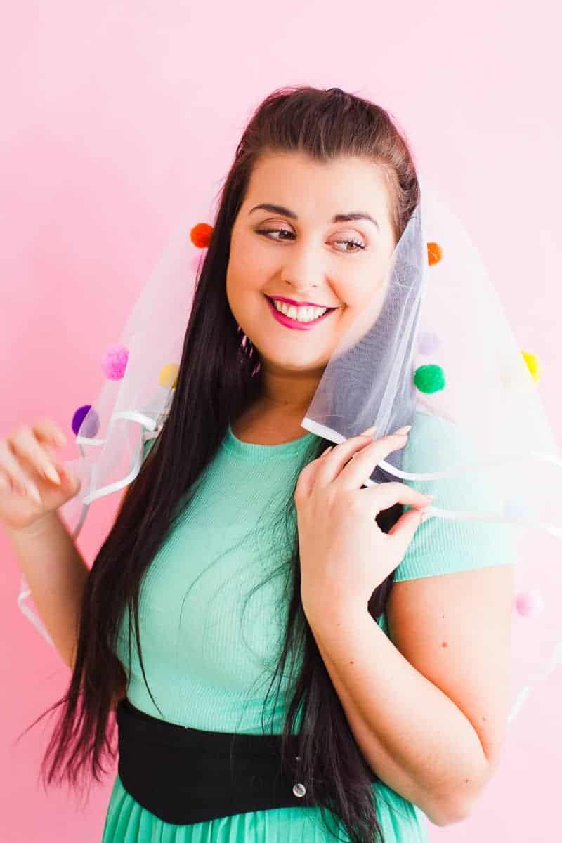 DIY Pom Pom Veil fun unique colourful hen party bridal shower bachelorette party_-4