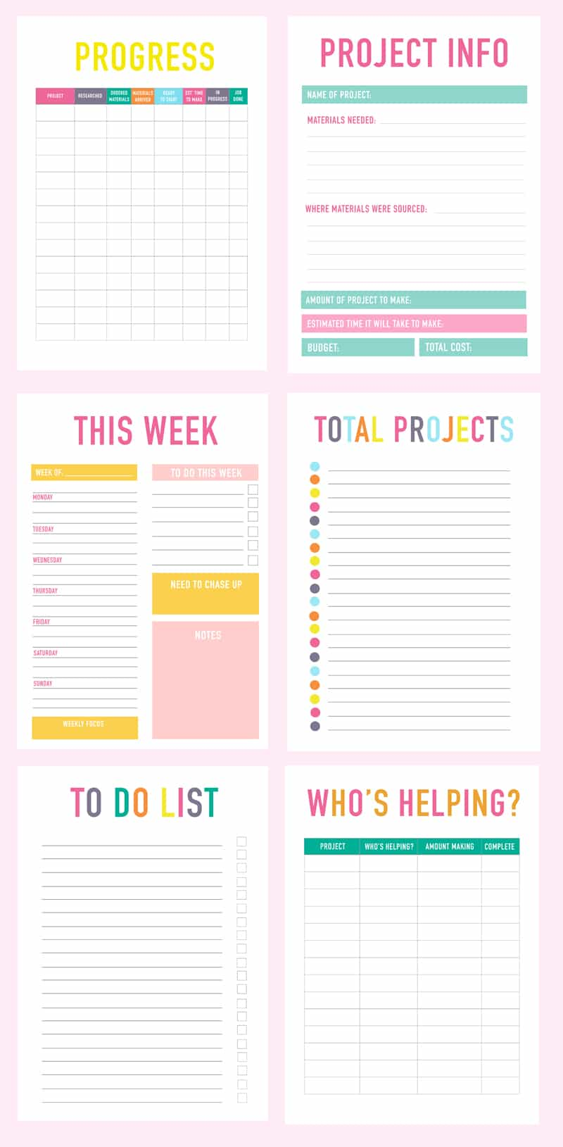 Printable DIY Wedding Planner Organiser Productive Pages