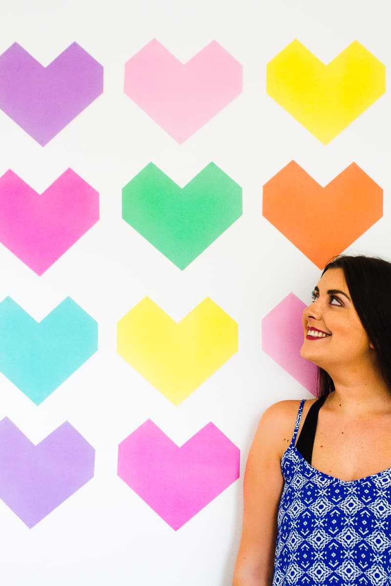 Easy DIY Backdrop Altar Paper Colourful Fun Geometric Heart Tutorial-6