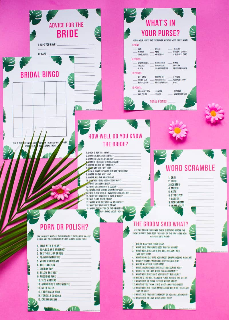 graphic relating to Free Printable Bridal Shower Games What's in Your Purse called No cost PRINTABLE WHATS Within just YOUR PURSE? TROPICAL BRIDAL