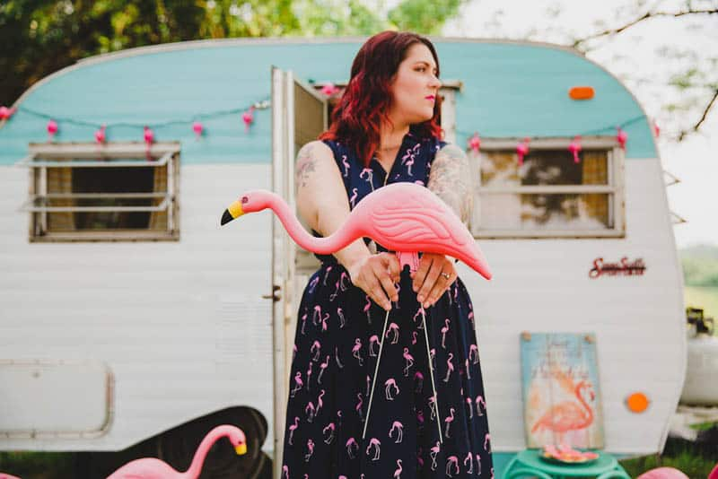 FLAMINGO THEMED ELOPEMENTS IDEAS IN A VINTAGE AIRBNB CAMPERVAN (16)
