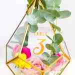 Diy Terrarium Table Numbers Gold Bespoke Bride Wedding Blog
