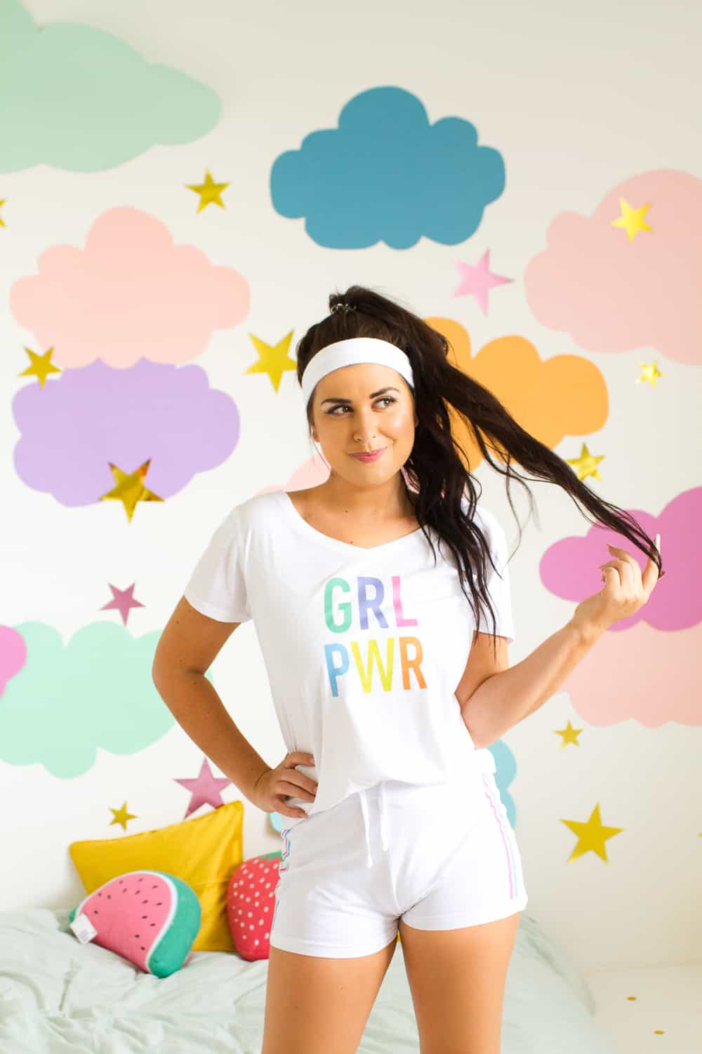 This PJ set is for you! The shorts have adorable stripes down the side and a  rainbow GRL PWR motif across the front of the Tee! 43291b2e5