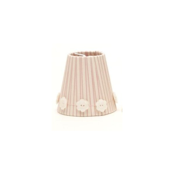 Fabric Candle Shades Sold In Pairs Dusky Piink With Daisy