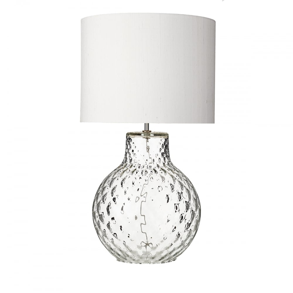 Clear Dimpled Portuguese Glass Table Lamp With Ivory Silk Shade