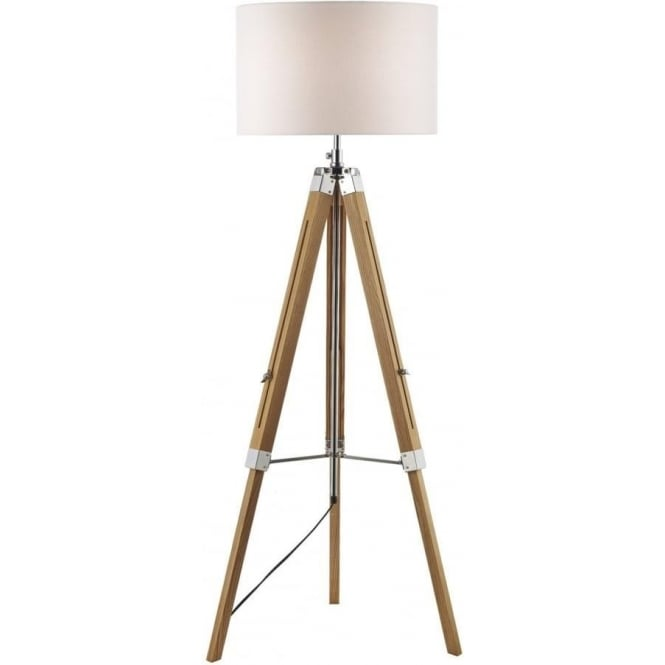 Wooden Tripod Or Easel Like Floor Standing Lamp With White Linen Shade