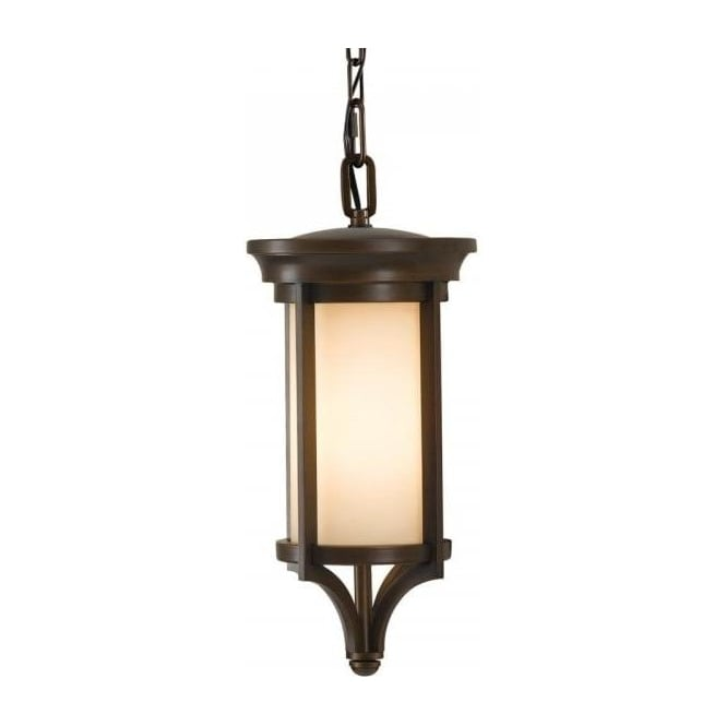 merrill arts and crafts style bronze hanging porch lantern with cream glass