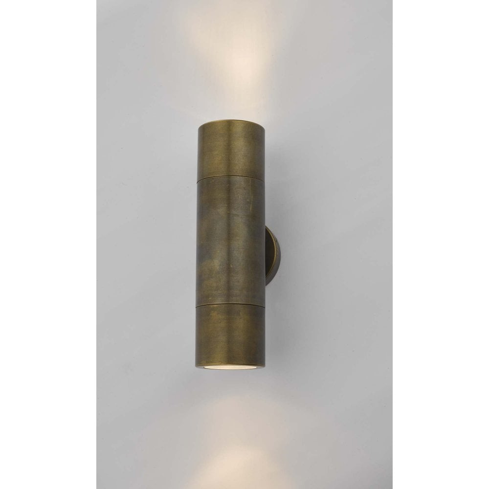 ortega led 2 bulb outdoor tube wall light in solid natural brass
