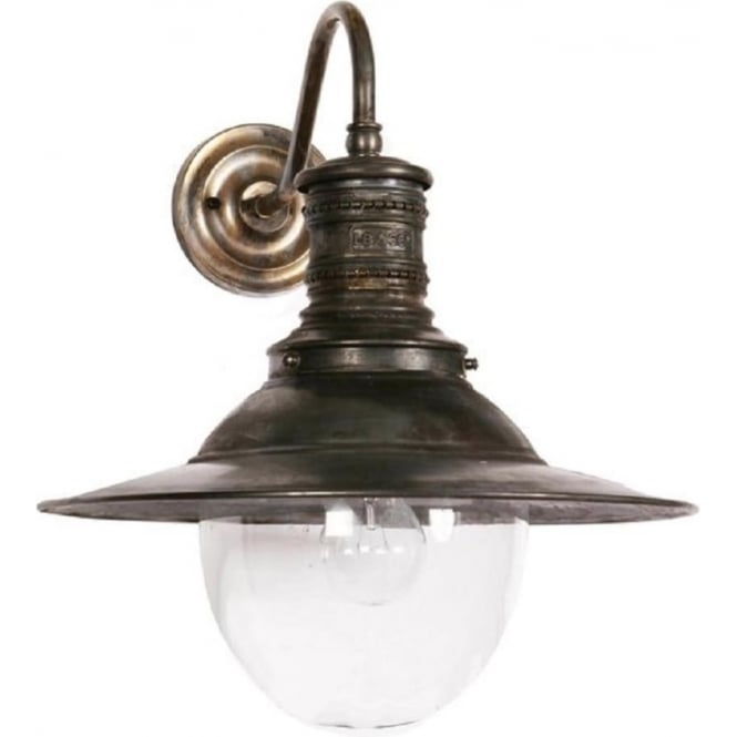 victoria railway station replica wall light in aged brass indoor or outdoor use