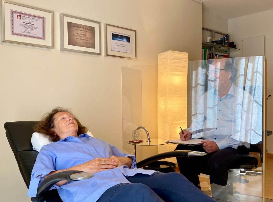 Plexiglas Pandemieschutz Hypnosetherapie Ric
