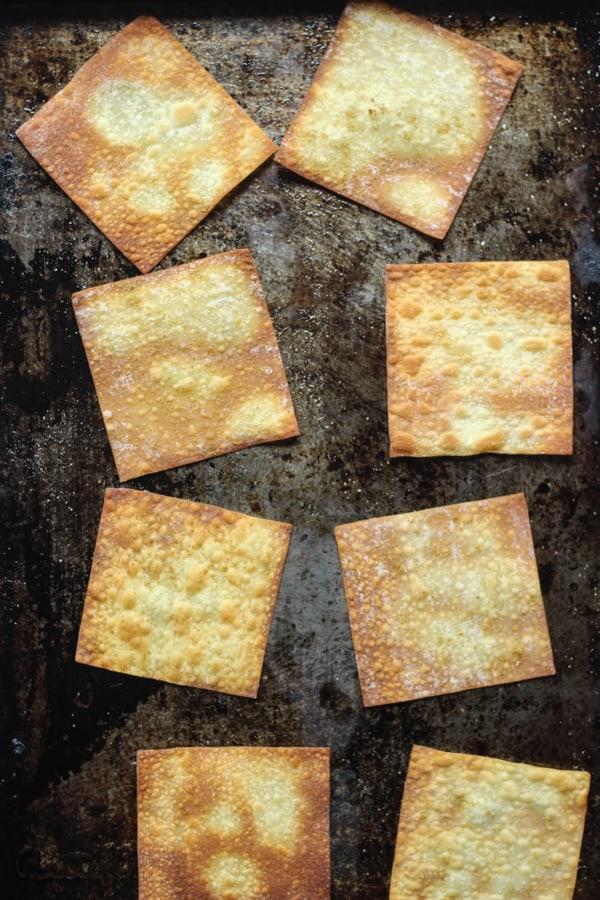 Crispy baked wonton skins