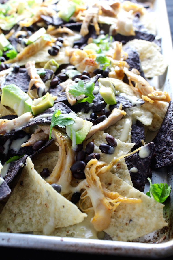 chipotle chicken nachos closeup