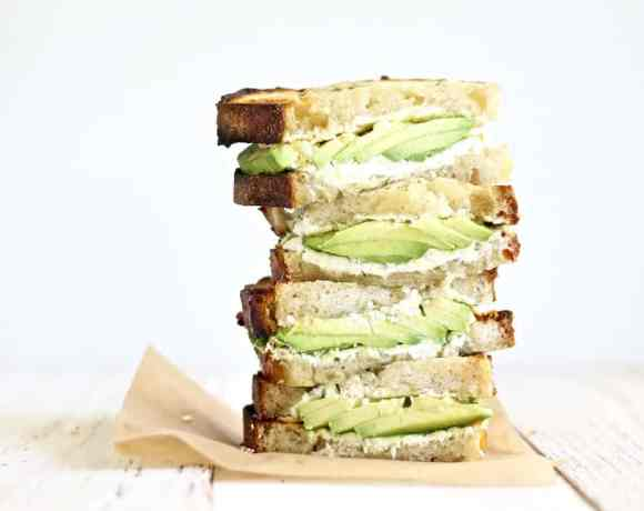 GRILLED AVOCADO & GOAT CHEESE SANDWICHES w/ GARLIC HERBED BUTTER