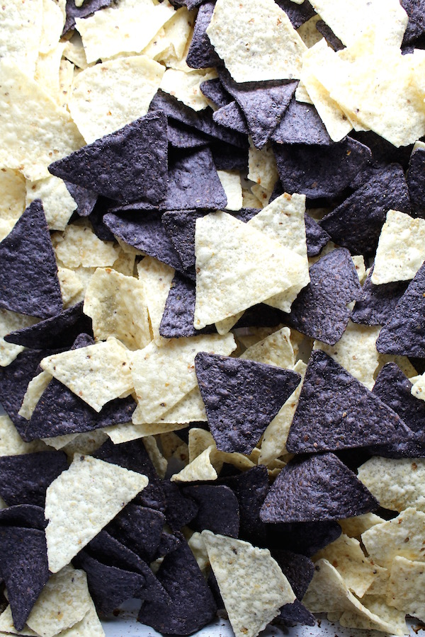 white and blue tortilla chips