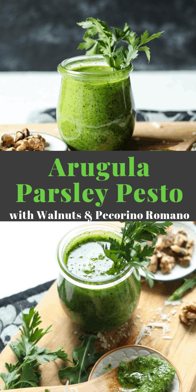 Arugula Parsley Pesto with walnuts, how to make pesto, how to keep pesto fresh #pesto #pestorecipe #sauce #saucerecipes