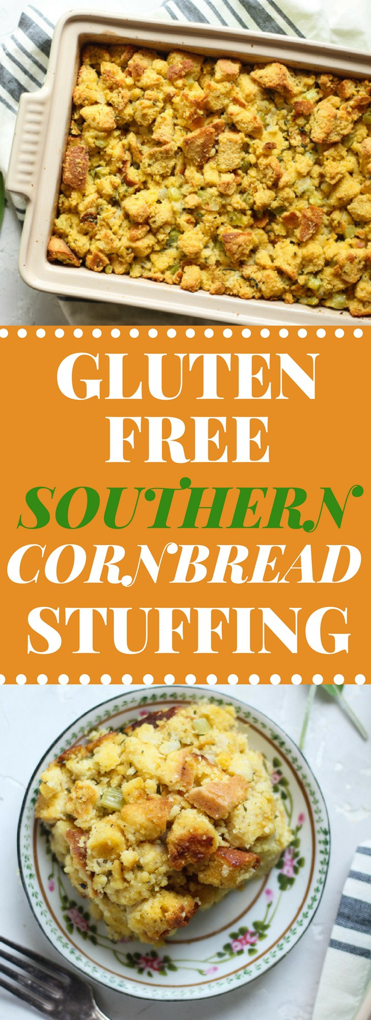 Gluten Free Sothern Cornbread stuffing with fresh rosemary, sage, and parsley