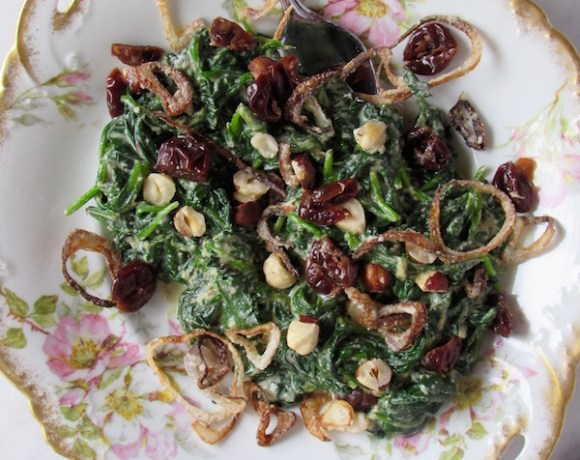 VEGAN CREAMED SPINACH w/ CRISPY SHALLOTS, HAZELNUTS, & DRIED CHERRIES