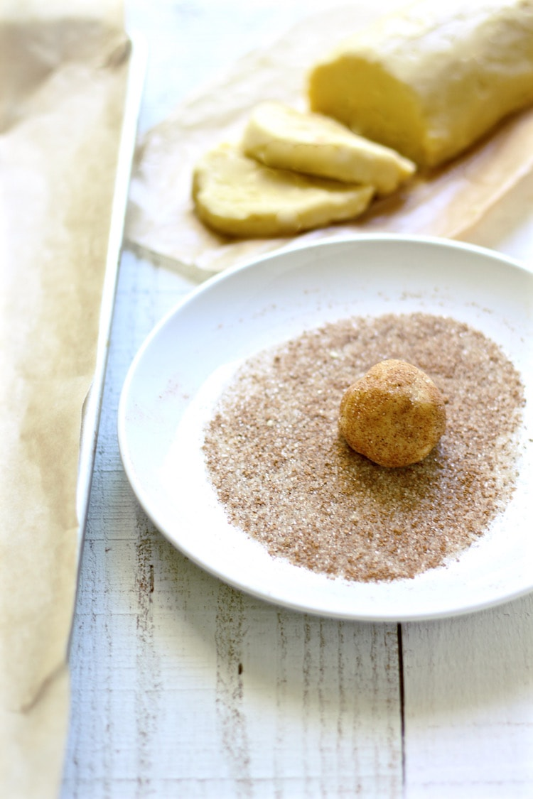 Chai Snickerdoodle cookie dough dipped in chai sugar