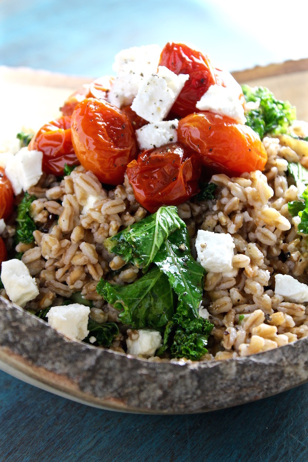 mediterranean kale farro salad closeup