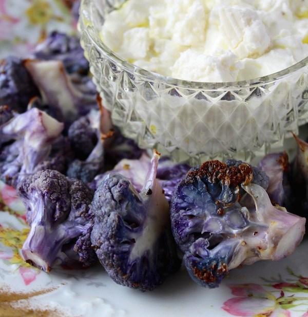 roasted cauliflower feta crema