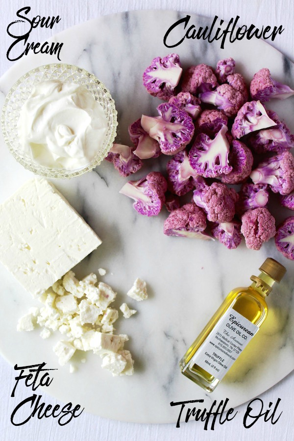 roasted cauliflower ingredients with text