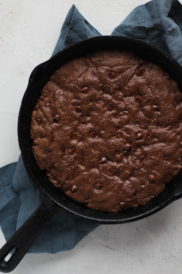 Double Chocolate Coconut Oil Skillet Cookie baked in a cast iron pan