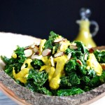 warm kale salad with roasted red pepper avocado dressing