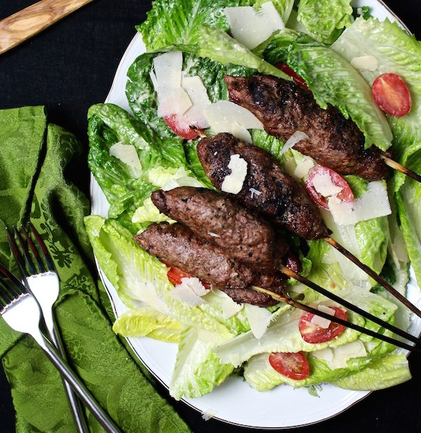 lamb kebab caesar salad