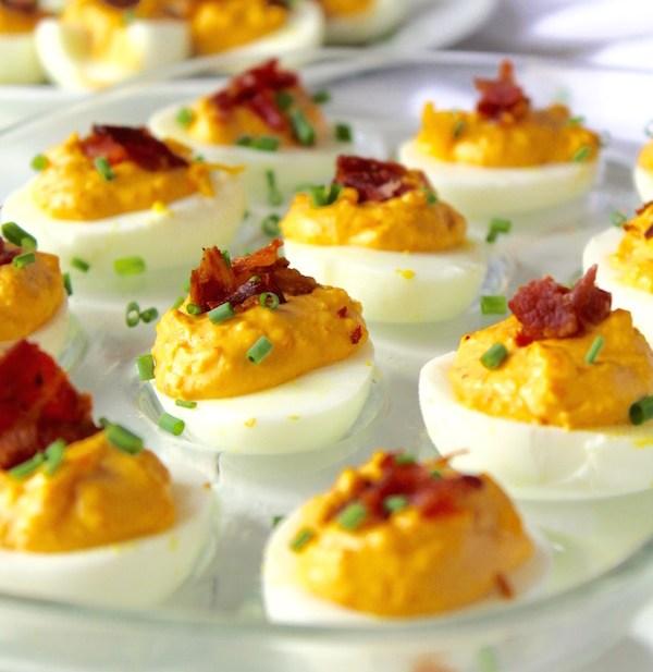 pimento bacon deviled eggs closeup