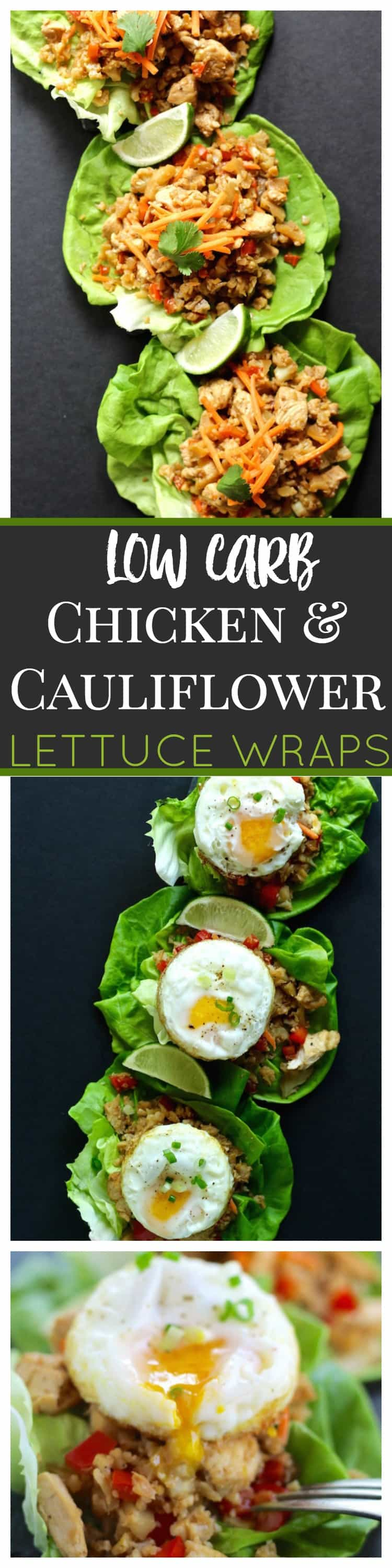 low carb chicken and cauliflower lettuce wraps