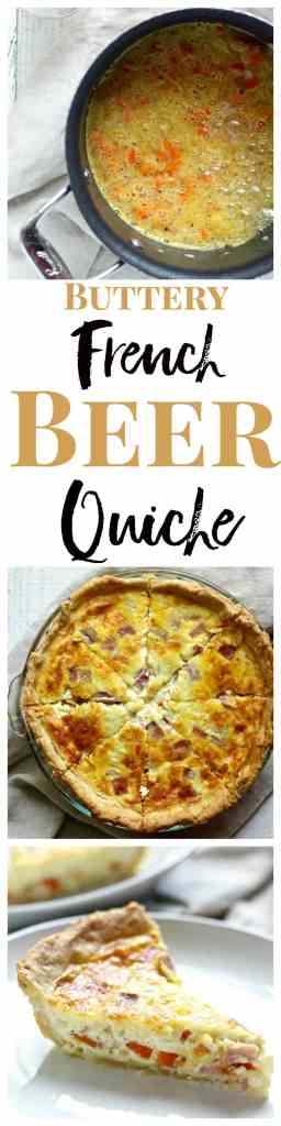 The flavor and aroma of beer infuse this unbelievably buttery and delicious quiche recipe!