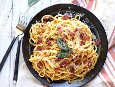 Pumpkin ricotta pasta carbonara recipe