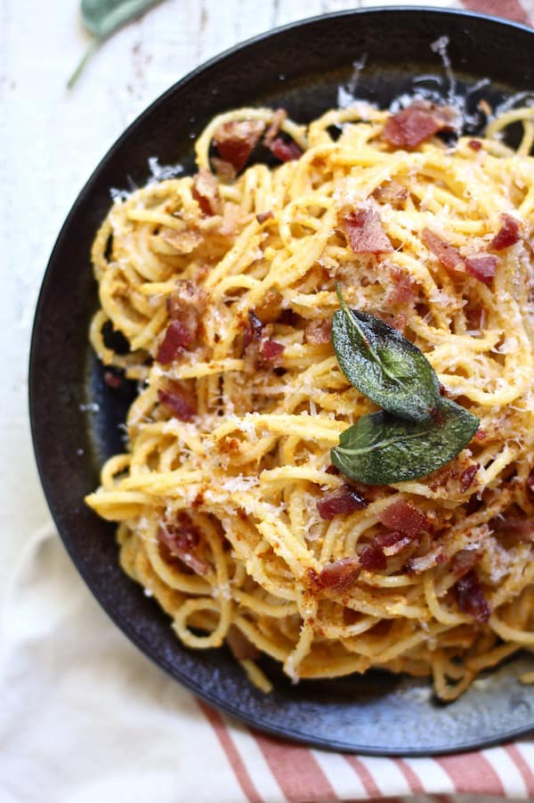 Pumpkin ricotta pasta carbonara with crispy sage and BACON!
