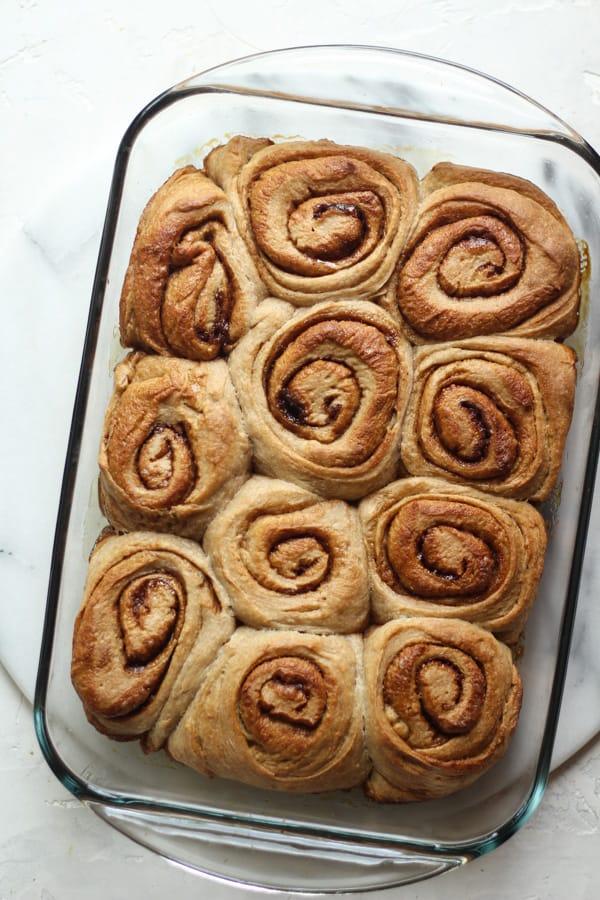 Sourdough Spelt Cinnamon Rolls baked