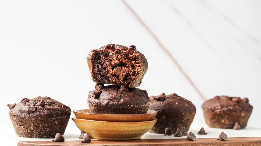 Healthy Double Chocolate Chip Muffins with banana and gluten free